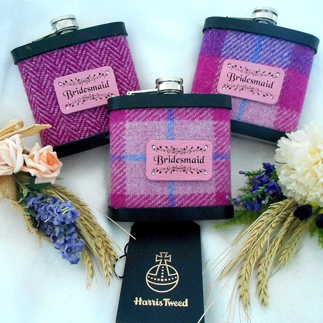 Set of Three Bridesmaids Harris Tweed Hip Flasks for Wedding gift or Hen Party