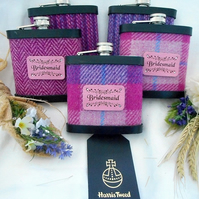 Set of five Bridesmaids Harris Tweed Hip Flasks for Wedding gift or Hen Party