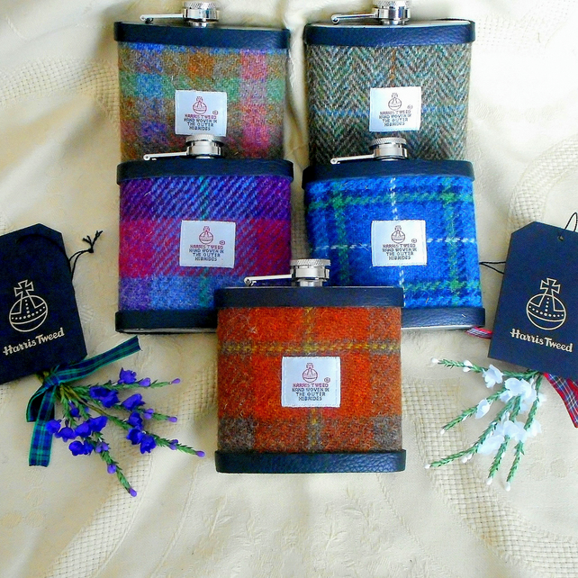 Set of five personalised groomsmens gift Hip Flask in choice of Harris Tweeds