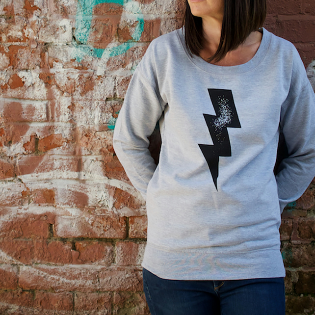 Lightening Bolt Hand Printed Gret Sweatshirt