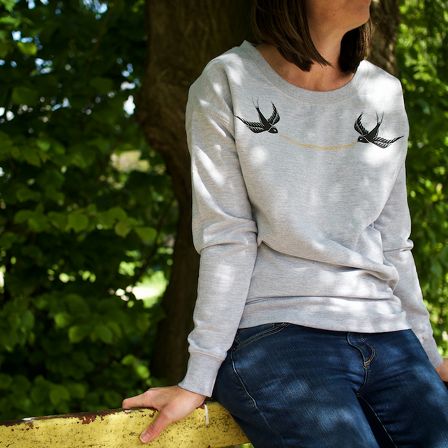 Swallow & Chain Hand Printed Grey Sweatshirt