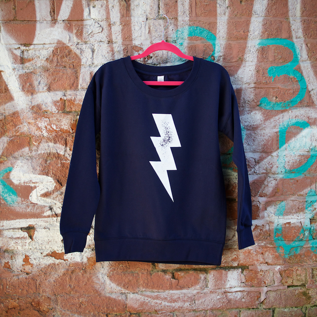 Lightening Bolt Hand Printed Navy Sweatshirt