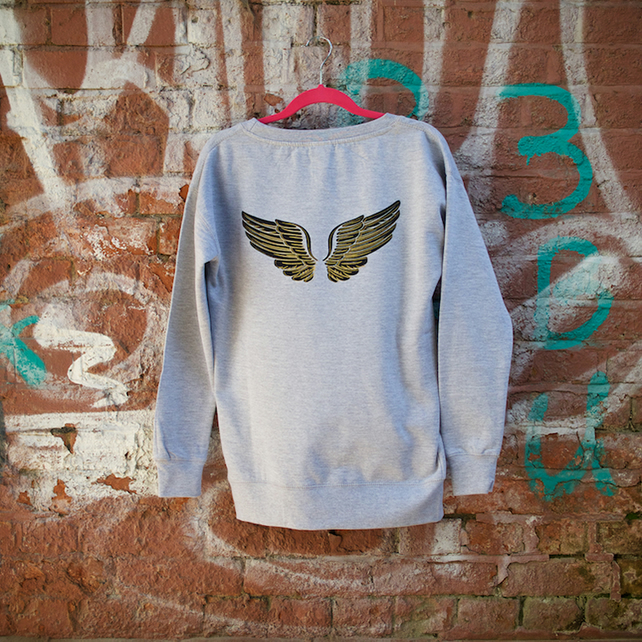 Angel Wings Hand Printed Gret Sweatshirt