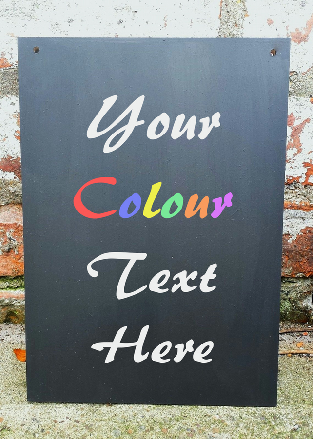 Personalised Chalkboard A3 Sign Plaque Handmade Wedding Colour Text