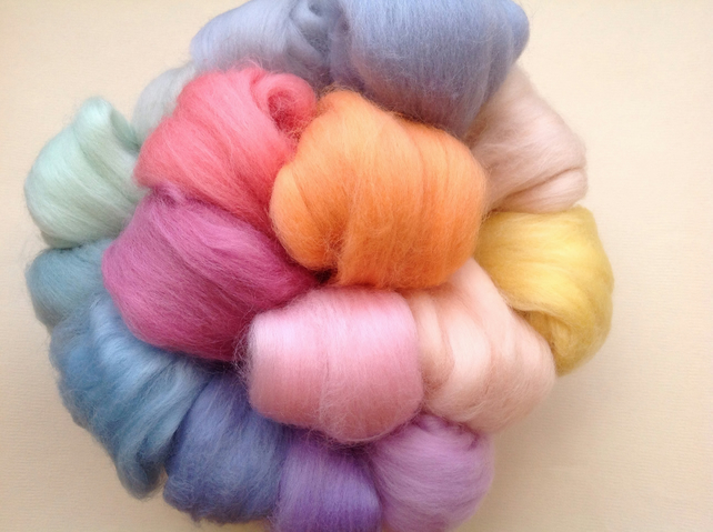 16 wools, Pastel Mix, Felting Wool fibre, Needle-felting, Wet-felting,