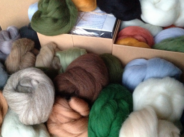 20 Felting Wools, Landscape colours, Needle-felting, Wet-felting