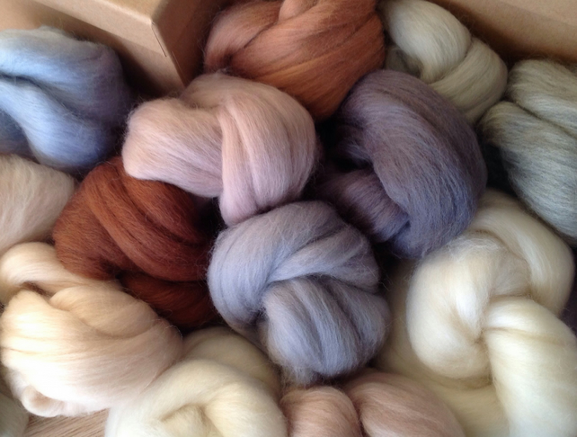 8 Neutral Wools, felting wool,