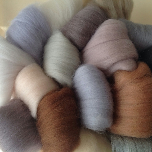 16 Neutral Wools, felting wool,