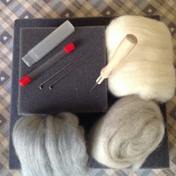 Basic Felting Kit. Needle felting kit, felting tools, felting wools,