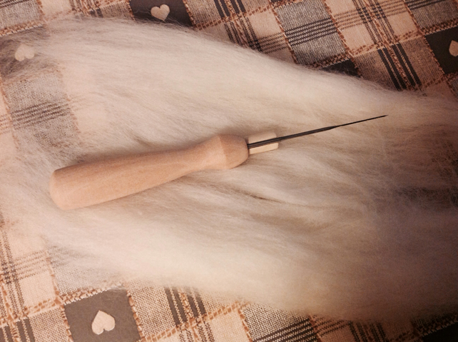 2 Felting needles and holder, with safety tube, needle felting tools.