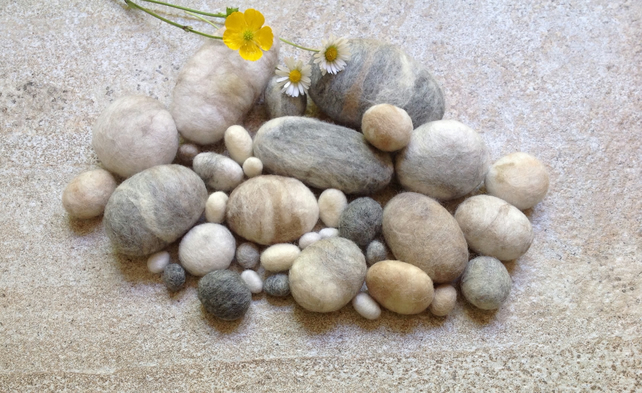 30 Pure Wool Felt Pebbles - by Linda.