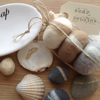 Gift set of 3 Soap Pebbles by Linda. Soap gift set, beach house decor,