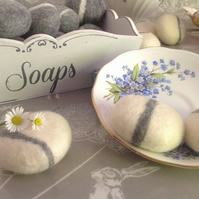 3 SOAP PEBBLES, felted soaps, hand crafted, made to order, gift soaps,