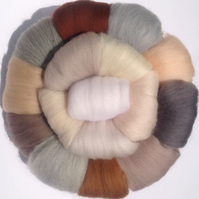 16 NEUTRAL Wools, Soft and fine, felting wool, wool tops, Merino wool fibre,