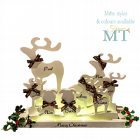 Personalised light up Christmas reindeer family, Custom reindeer family