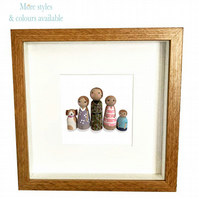 Personalised peg doll family portrait, Christmas gift for parents mum