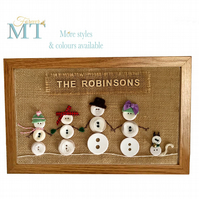 Personalised snowman button family. Personalised Christmas button family.