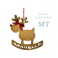 Personalised reindeer tree decoration, Custom Christmas bauble,Custom tree decor