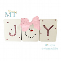 Custom Joy Christmas letters, Noel Christmas letters, Blue and silver Christmas