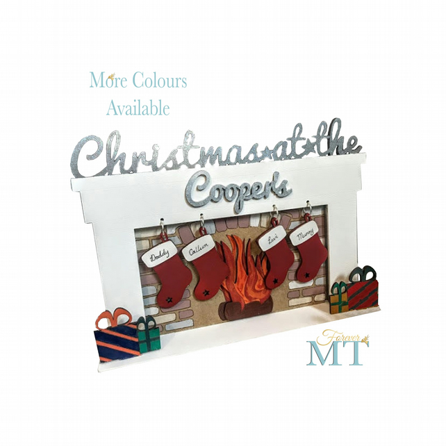 Personalised Christmas stocking fireplace display, Christmas ornaments