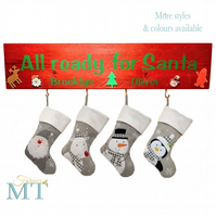 Personalised Christmas stocking hanger, Wooden Christmas stocking holder