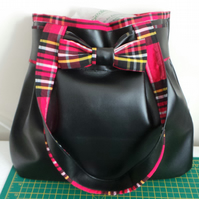 Black & Tartan Leatherette Hobo Bow Bag.