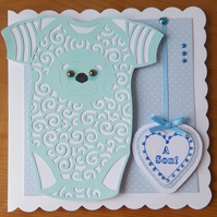 Gorgeous handmade baby boy card