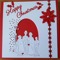 Gorgeous handmade carollers Christmas card.