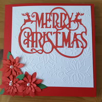 Gorgeous handmade poinsettia christmas card