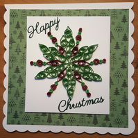 Handmade Quilled Snowflake Christmas Card.