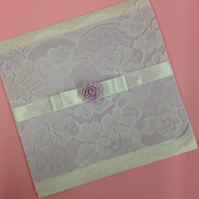 Lilac, Lace and Rose Wedding Invitation