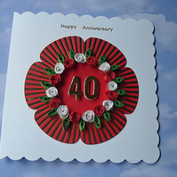 Anniversary card - quilled - ANY number