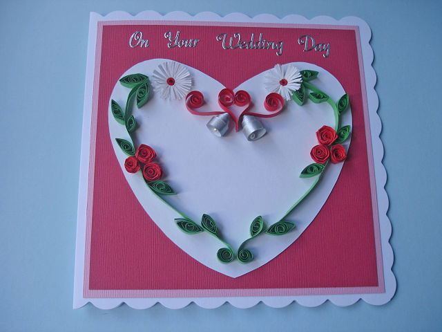 Quilled wedding day card - red roses