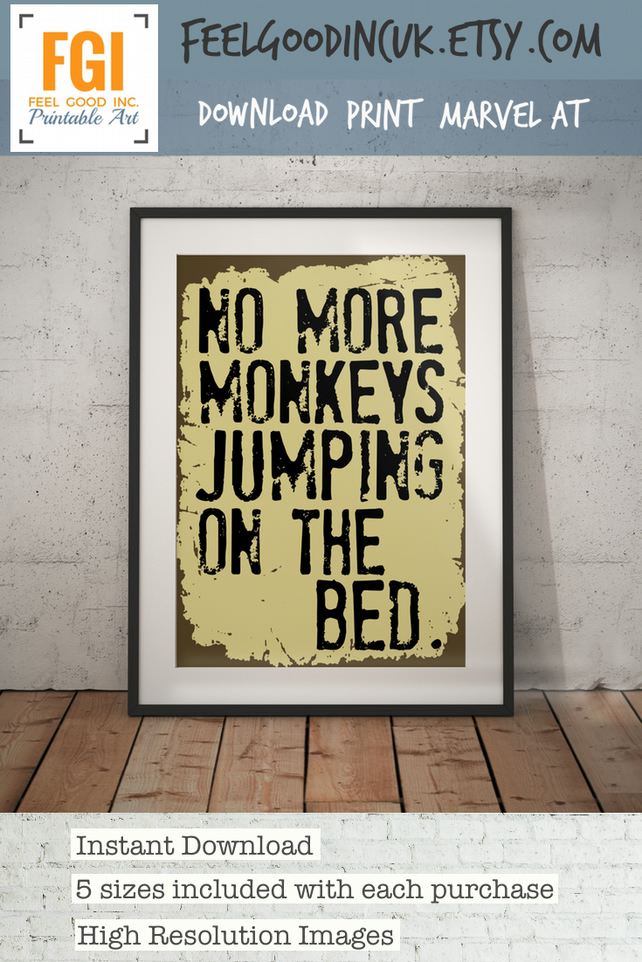 No More Monkeys Jumping on the Bed - Jungle Nursery Decor - Wall Art- Kids Decor