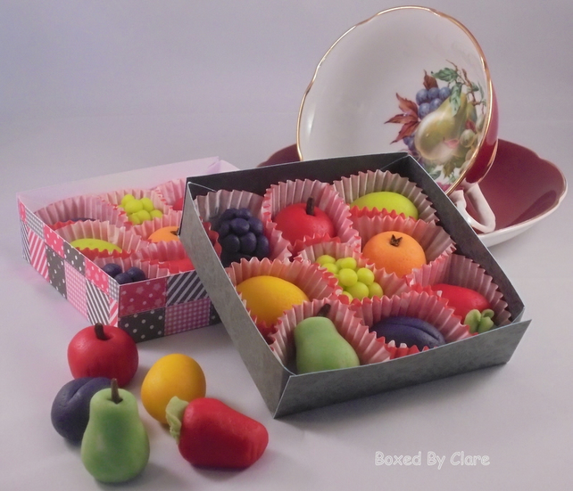 Box Of 9 Marzipan Fruits - Fathers Day - Present - Gift - Handmade
