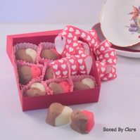 Milk Chocolate Dipped Marzipan Hearts - Box Of 9 Hearts