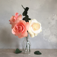 A trio of Paper Roses & Foliage