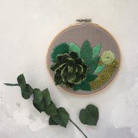 Paper Succulent Embroidered Garden