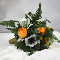 Yellow Paper Rose, Paper Anemone & Billy Button bouquet