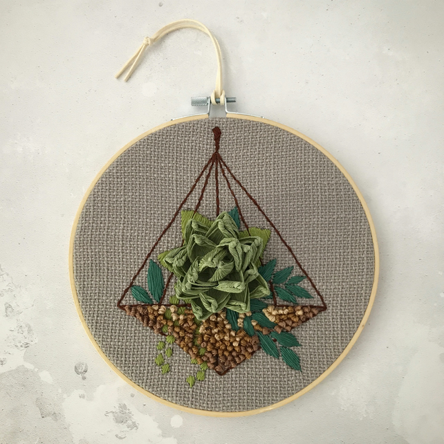Embroidered Terrarium Garden II