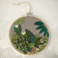 Embroidered paper succulent garden I