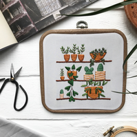 Plant embroidery. Botanical art. Embroidered hoop. Succulent embroidery.