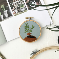 Botanical Foliage embroidery. Botanical art. Embroidered hoop. modern embroidery