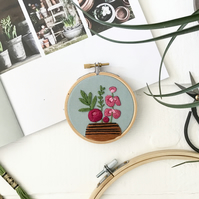 Flower embroidery. Botanical art. Embroidered hoop. Botanical embroidery.