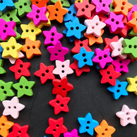20 Bright Wooden Star Buttons - Sewing, Craft, Embellishment, ScrapBooking