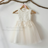 Ivory Lace Tulle Flower Girl Dress - Ivory