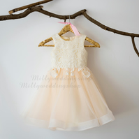 Ivory Lace Tulle Flower Girl Dress - Ivory & Champagne