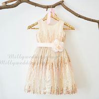Rose Champagne Sequin Flower Girl Dress