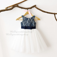 Navy Blue Lace & Ivory Tulle Flower Girl Dress