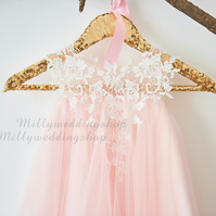 Pink Tulle and Ivory Lace Flower Girl Dress